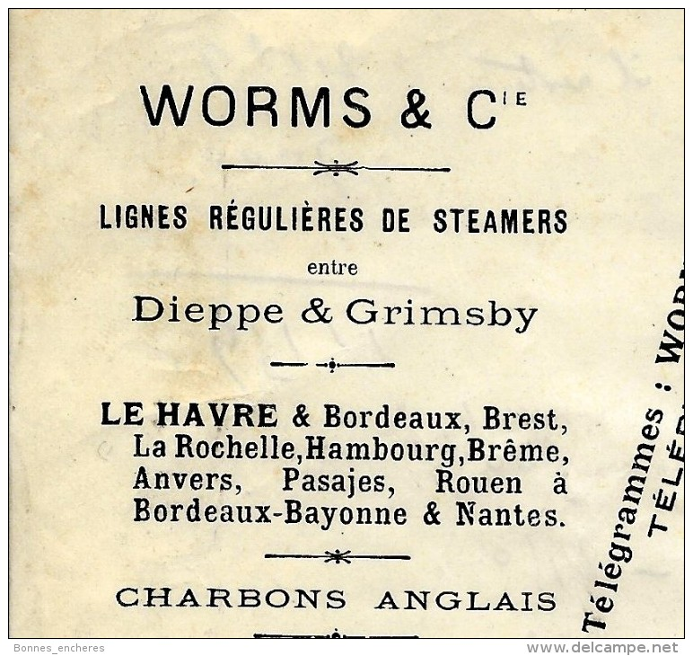 GRANDES SOCIETES FRANCAISES WORMS ARMATEURS PARIS LETTRE DIEPPE 1912.B.E. V.SCANS+HISTORIQUE - France