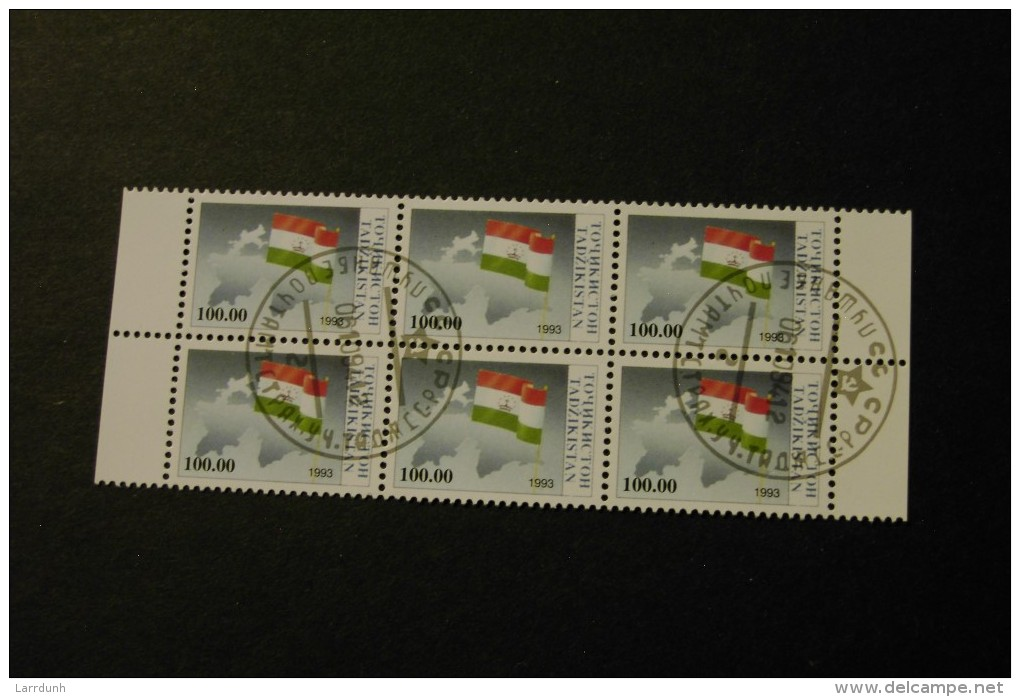Tajikistan 30 Flag And Map Cancelled Block Of Six Top 1993 A04s - Tajikistan