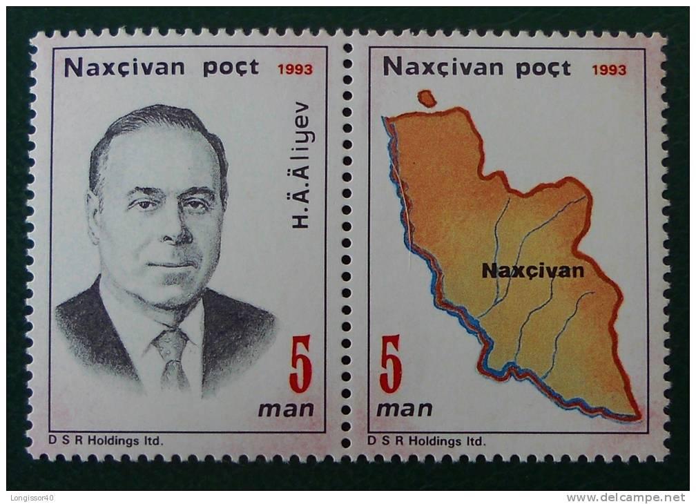 NAKHITCHEVAN - PRESIDENT ALIEV & CARTE 1993 - NEUFS ** - MI 1A/2A - PAIRE - Azerbeidzjan