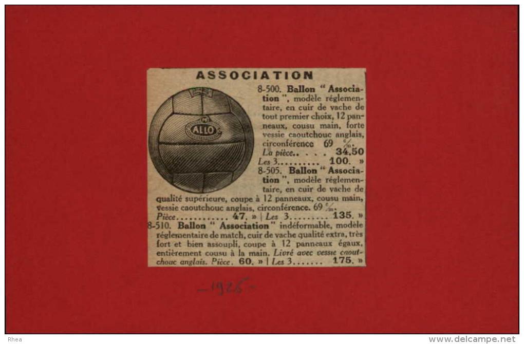 FOOTBALL - Publicité Tirée D'une Revue De 1926 Et Collée Sur Carton - Autres Collections