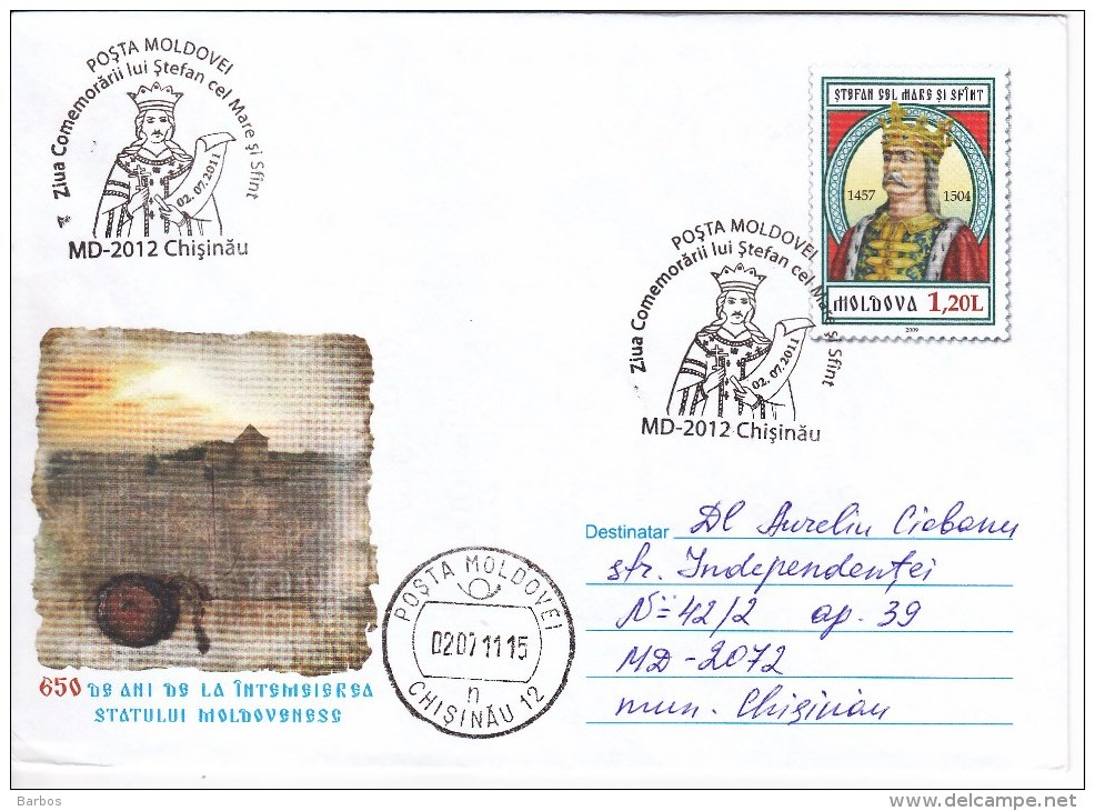 MOLDOVA , MOLDAVIE , MOLDAWIEN , MOLDAU , 2011 ; Remembrance Day Of The King Stefan Cel Mare  ; Special Cancell. - Moldova