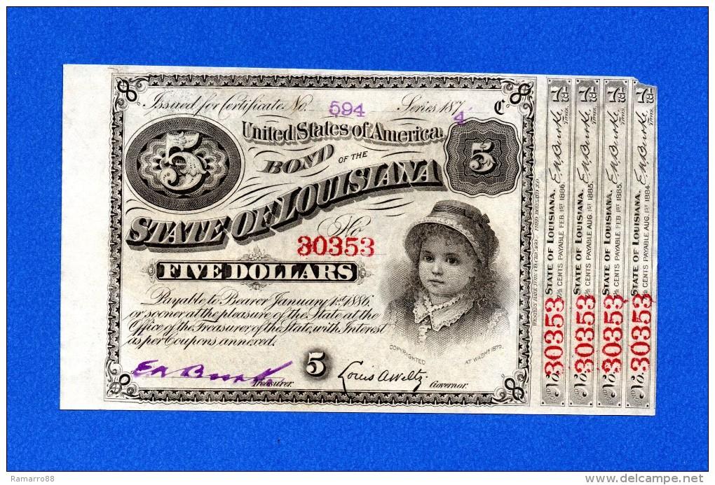 USA Louisiana 5 $ Dollars 1874 Baby Bond With 4 Coupons - Stati Uniti