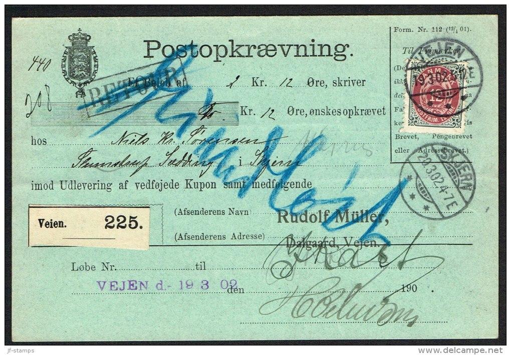 1896. Bi-coloured. 12 Øre Red-lilac/grey. Perf. 12 3/4. Watermark Large Crown. Normal F... (Michel: 26IYBb) - JF104215 - Briefe U. Dokumente