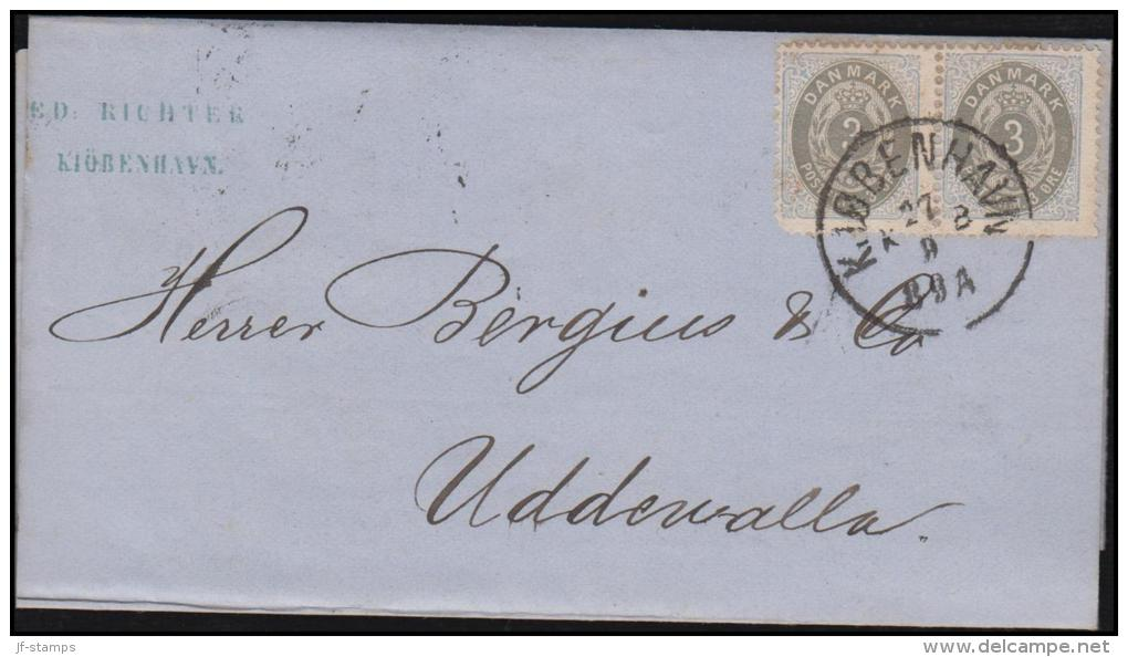 1875. Bi-coloured. 3 Øre Grey/light Ultramarine. Perf. 14x13½. Normal Frame PAIR On Cov... (Michel: 22IYAa) - JF106453 - Briefe U. Dokumente