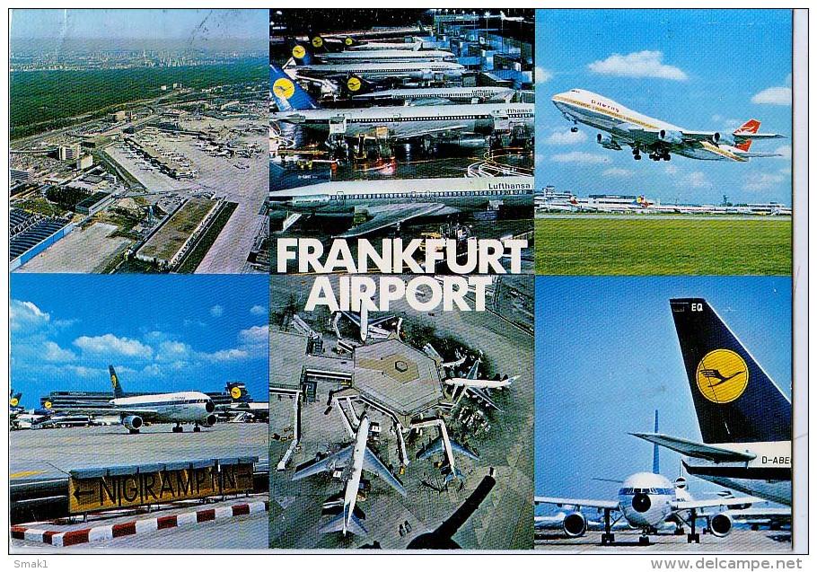 AK FLUGWESEN AERODROME FLUGHAFEN AIRPORT FRANKFURT AM MAIN  ALTE POSTKARTE 1981 - Aerodrome