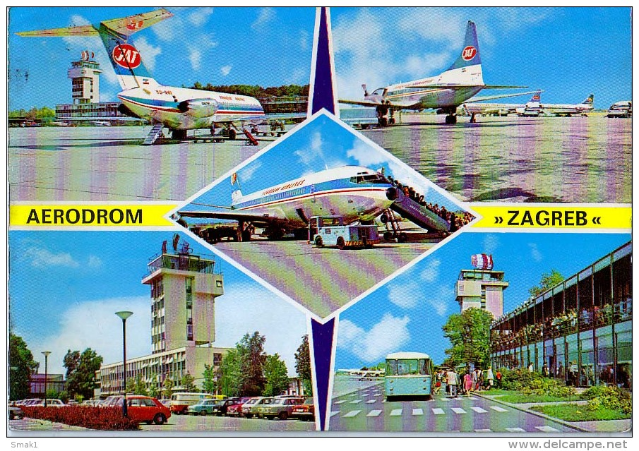 AK FLUGWESEN AERODROME FLUGHAFEN AIRPORT ZAGREB JAT  ALTE POSTKARTE - Aerodrome