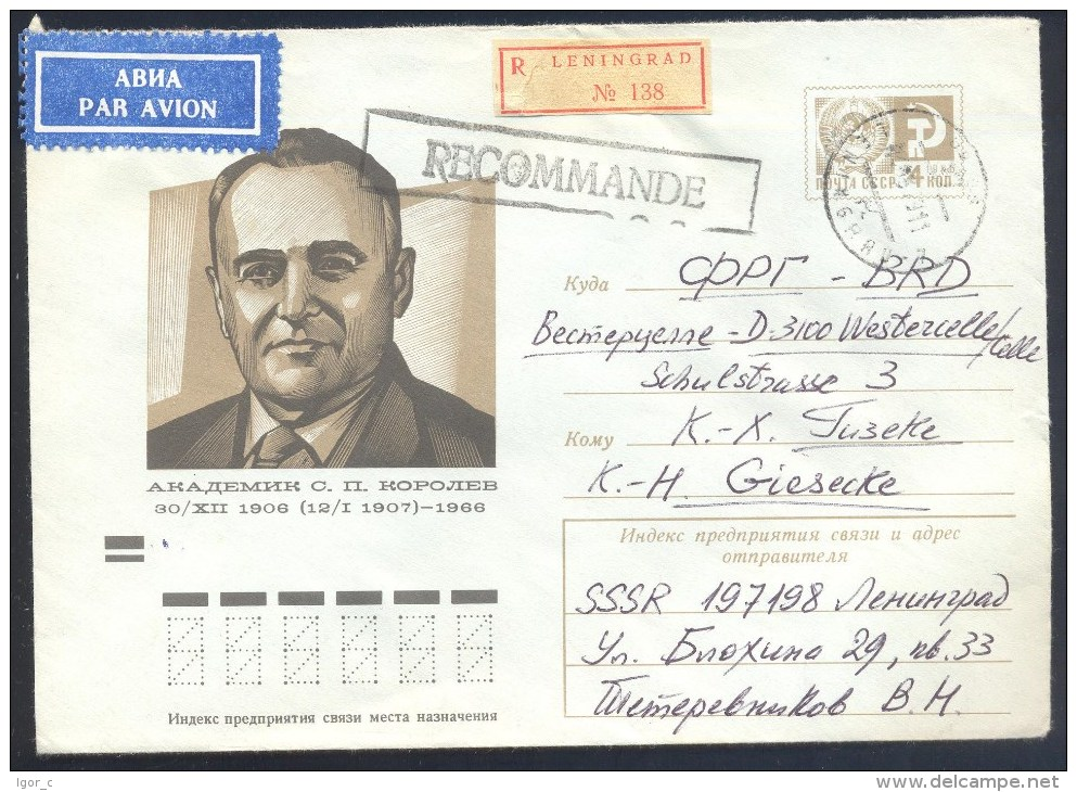 Russia USSR CCCP 1978 Registered Airmail PS Cover: Space Weltraum Espace: S. P. Korolev - FDC & Gedenkmarken