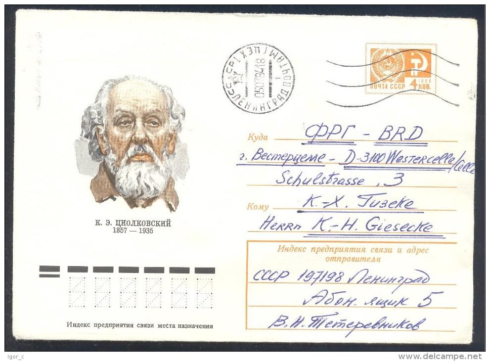 Russia USSR CCCP 1977 Postal Stationery Cover: Space Weltraum Espace: K. Ziolkovski - FDC & Gedenkmarken