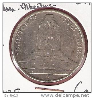 DUITSE RIJK SAKSEN-ALBERTINE 3 MARK 1913E SILVER KM1275 - 2, 3 & 5 Mark Argent