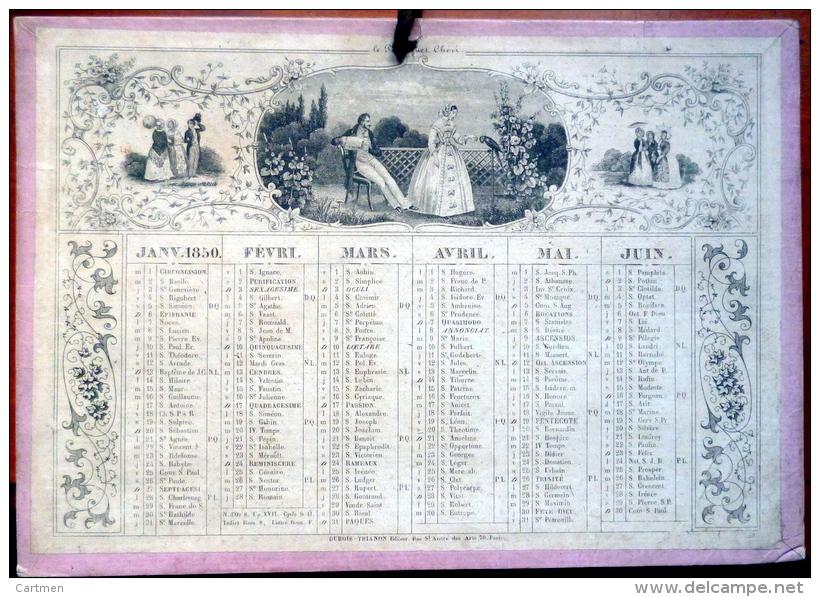 CALENDRIER  ANNEE 1850  TRES ANCIEN   XYLOGRAPHIES  ROMANTIQUES EPOQUE  DEUXIEME REPUBLIQUE - Calendari