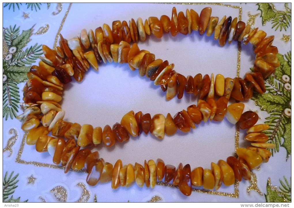 Vintage Jewelry Medicine Charm Beads Necklace With Antique Baltic Amber Yolk Yellow Butterscotch - 73g - Necklaces/Chains