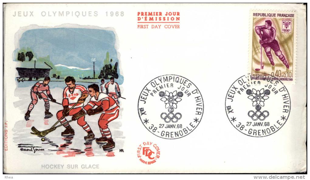 SPORTS - HOCKEY SUR GLACE - Enveloppe Premier Jour - Jeux Olympique 1968 - Grenoble - FDC