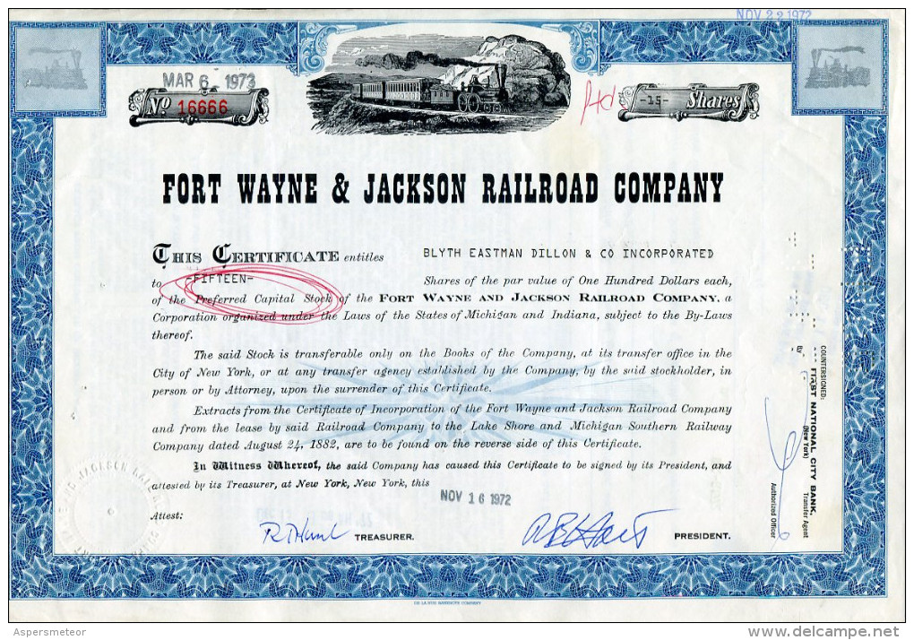 ACCIONES TITULOS SHAREHOLDING TITRES 15 SHARES FORT WAYNE & JACKSON RAILROAD COMPANY  YEAR 1972 TBE GECKO - Chemin De Fer & Tramway