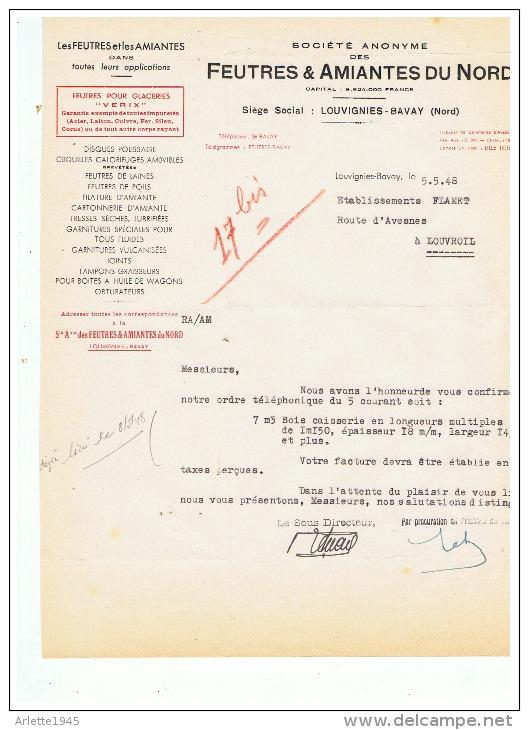 FEUTRES & AMIANTES DU NORD  à  LOUVIGNIES - BAVAY  (NORD)  1948 - France