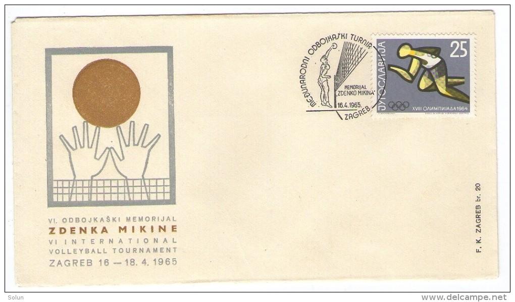 YUGOSLAVIA JUGOSLAVIJA COMMEMORATIVE COVER 1965 ZAGREB INTERNATIONAL VOLLEYBALL TOURNAMENT MEMORIAL ZDENKO MIKINA - Cartas