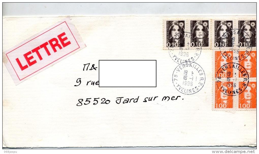 Lettre Cachet Versailles Sur Marianne - Postmark Collection (Covers)