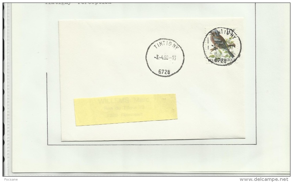 Oblitérations Postal  Tintigny Rossignol  Bellefontaine  St Vincent - Briefmarken