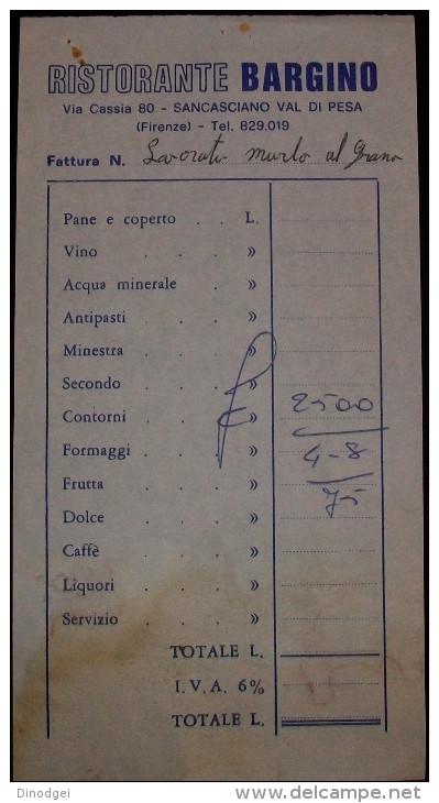 """RICEVUTA DI RISTORANTE1975  """"IL BARGINO """" - Fatture"""