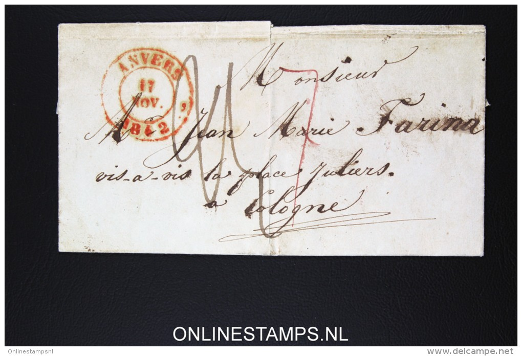 Belgium: Letter From Antwerpen Anvers To Cologne Koln  1842 - 1830-1849 (Belgique Indépendante)