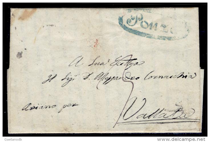 Ponza 00595a - Piego Del 20 Febbraio 1857 (data Del Testo). - 1. ...-1850 Prefilatelia