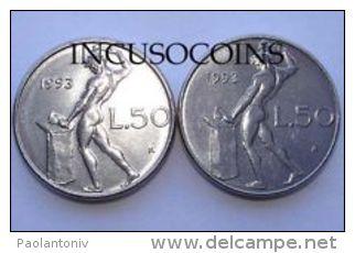 D) ITALIA  LIRE 50 DEL 1993  CON ROMBO 3 CORTO - 1946-… : Republic
