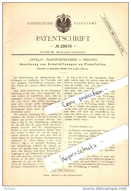 "Original Patent - ""Apollo"" Pianoforte-Fabrik In Dresden , 1884 , Schallöffnungen An Pianofortes , Piano , Klavier !!! - Musikinstrumente"