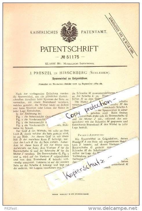 Original Patent - J. Prenzel In Hirschberg / Jelenia Góra , 1889 , Spannwirbel An Geigen , Geige , Violine , Musikalien - Musikinstrumente