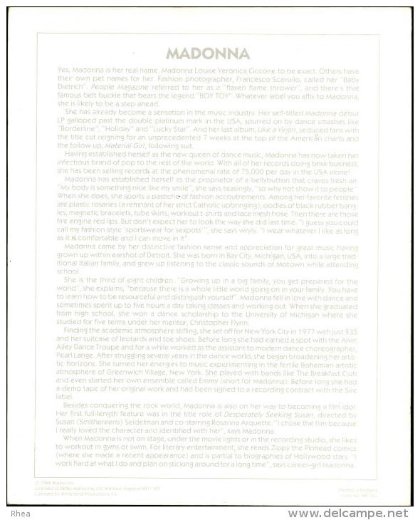ARTISTES - MADONNA - PHOTO Cartonnée - Autres Collections