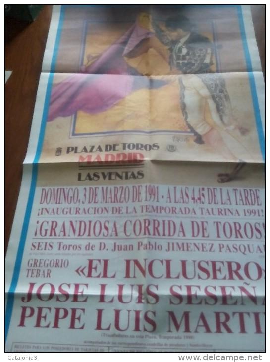 TOROS - Cartel Antiguo Plaza Corrida De Toros En MADRID 1991 - Mide 89 X 46 Cm - Afiches