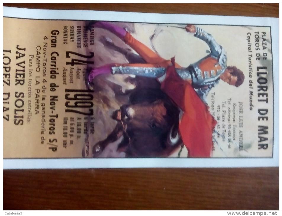 TOROS - Cartelito Antiguo Plaza Corrida De Toros En LLORET DE MAR 1997 - Mide 25 X 11 Cm - Afiches