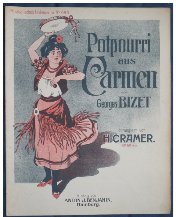 PARTITION PIANO GF POT POURRI CARMEN BIZET CRAMER HAMBURG BENJAMIN - Musique & Instruments