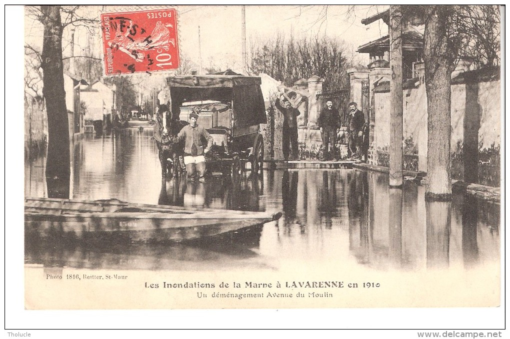 La Varenne Saint-Hilaire (Saint-Maur-des-Fossés-Val De Marne)-Inondations-1910-Déménagement Avenue Du Moulin-Cheval - Saint Maur Des Fosses
