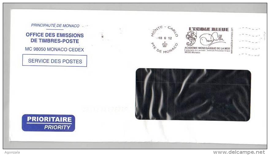 POSTAGE MONACO L´AFFRANCHISSEMENT OFFICIEL ACADEMIE MONEGASQUE DE LA MER - L'ECOLE BLEUE 2012 - Culturas