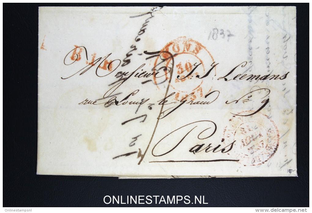 Belgium: Letter Mons Bergen To Paris 1837 - 1830-1849 (Belgique Indépendante)