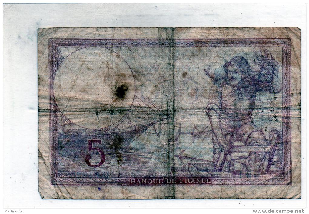 -  BILLET De CINQ Fr Violet 19 10 1939  Plié - 556 - 1871-1952 Antiguos Francos Circulantes En El XX Siglo