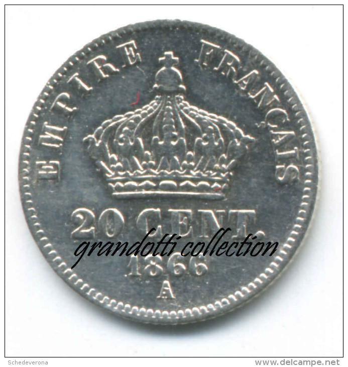 FRANCIA 20 CENT 1866 PARIGI NAPOLEONE III MONETA ARGENTO - Francia