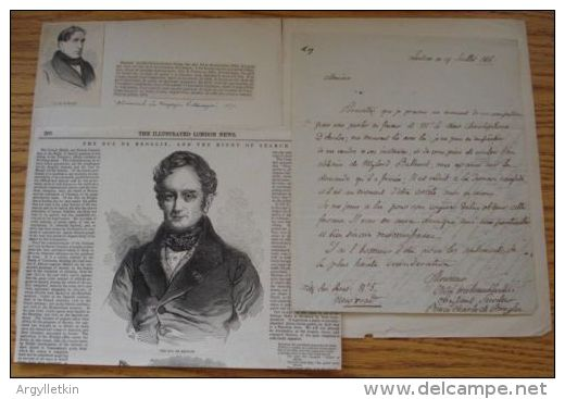 DUC DE BROGLIE, FRANCE LETTER 1816 - Historical Documents