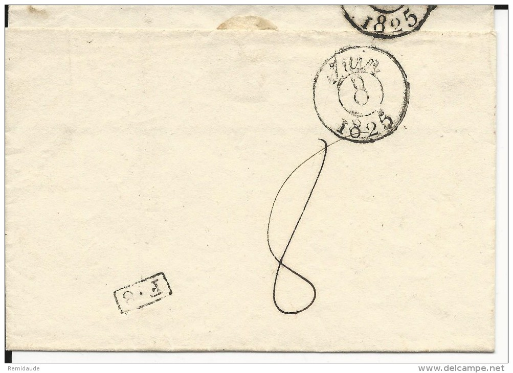 MORBIHAN - 1825 - LETTRE PORT PAYEE De LORIENT - IND 9 (55 EUROS) - - Marcophilie (Lettres)