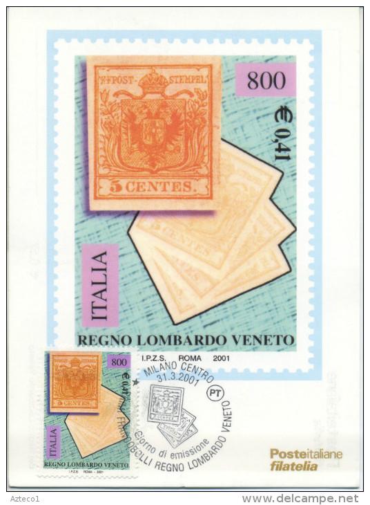 ITALIA - FDC MAXIMUM CARD 2001 - PRIMI FRANCOBOLLI LOMBARDO VENETO -  ANNULLO SPECIALE - Cartoline Maximum
