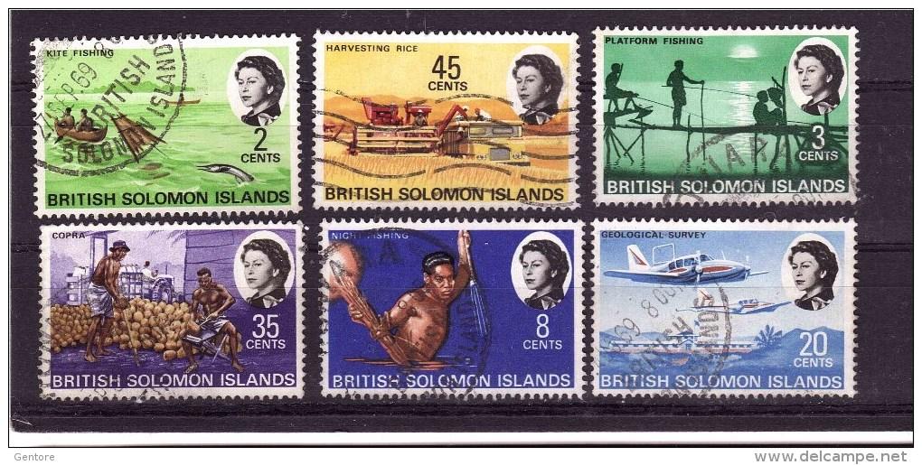 SOLOMON ISLANDS 1968 Odd Value Definit. Issue  Yvert Cat N° 162-63-66-70-72-73 Very Fine USED - Solomon Islands (1978-...)