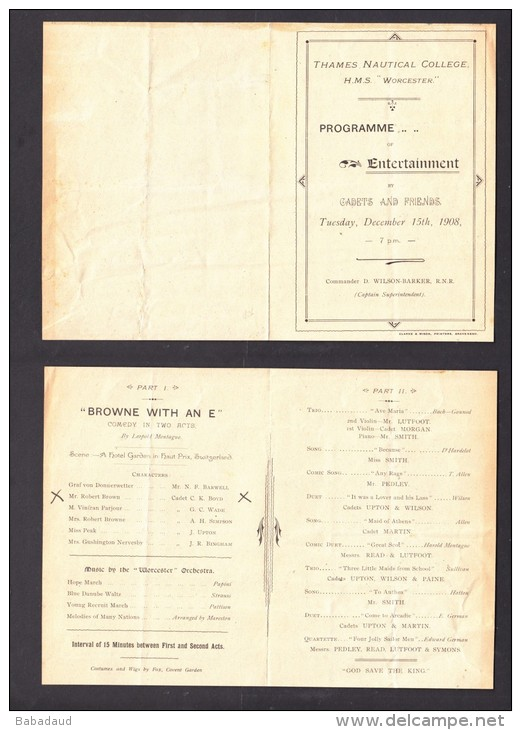 THAMES NAUTICAL COLLEGE  HMS WORCESTER, ENTERTAINMENT BY CADETS + FRIENDS 1908 - Programs