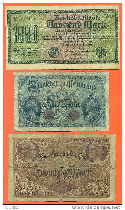 Lot De 3 Billets Anciens D'allemagne - Kilowaar - Bankbiljetten