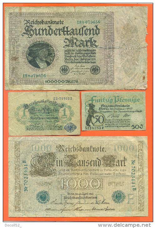Lot De 4 Billets Anciens D'allemagne - Alla Rinfusa - Banconote