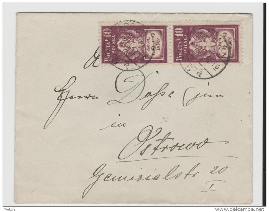 Pol066/POLEN -  Parlamenteröffnung 1919. Polnischer Adler Im Paar (ex Posen) - Covers & Documents