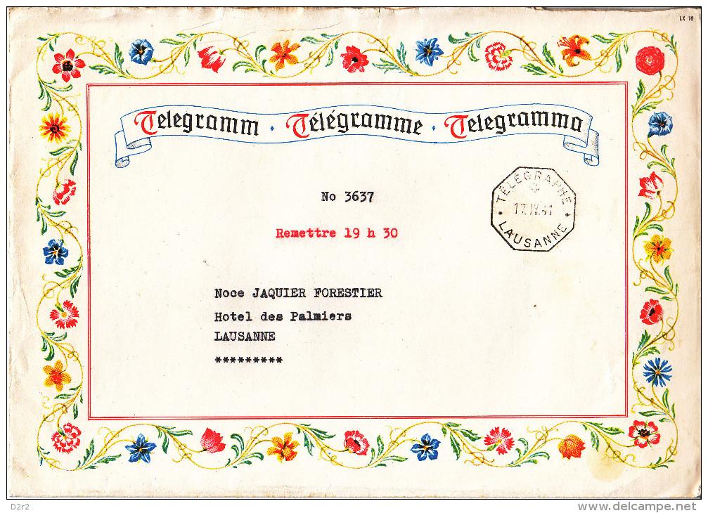 SUPERBE LETTRE TELEGRAPHE-LAUSANNE 17.04.41-(2) - Télégraphe
