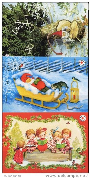 PA1428 Aland 2010 Christmas Child 3v Postcard MNH - Aland