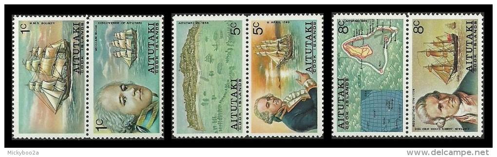 AITUTAKI COOK ISLANDS 1974 SHIPS EXPLORERS BLIGH COOK SET MNH - Aitutaki