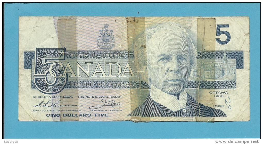 CANADA - 5 DOLLARS - ( 1986 ) - Pick 95.b - Sign. Thiessen-Crow - 2 Scans - Canada