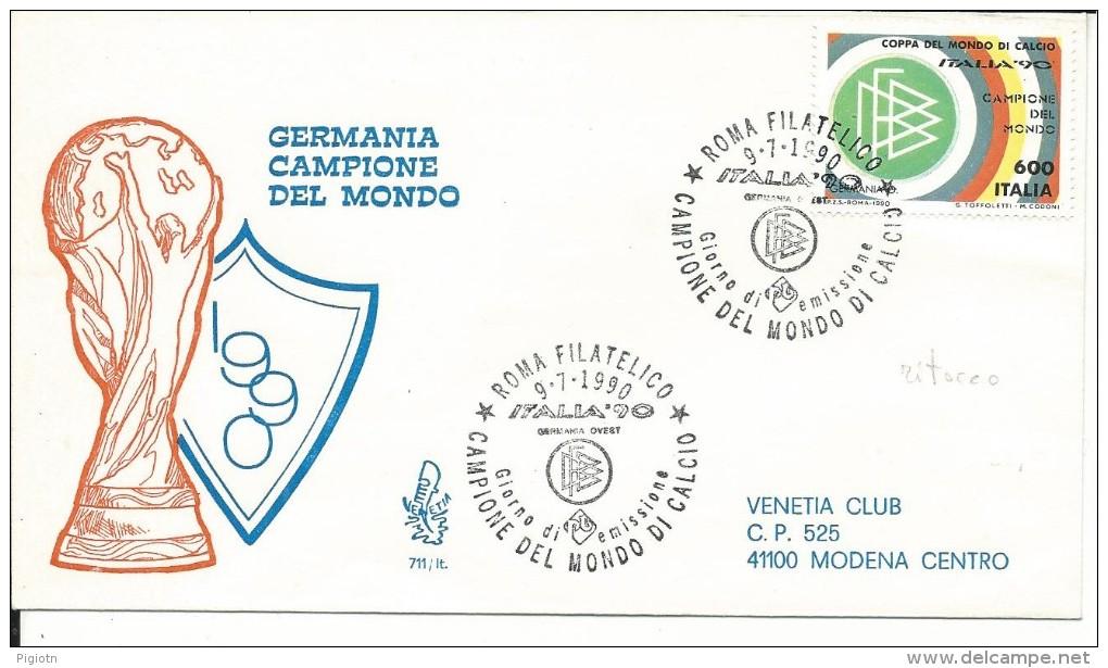 VARIETA´232 - FDC GERMANIA CAMPIONE L.600 1990 CON RITOCCO A SX - Varietà E Curiosità