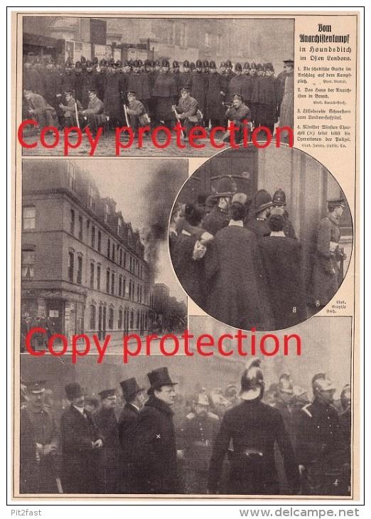 Newspaper Report - 1911 - Street Fight In Houndsditch - London , Winston Churchill , Hospital !!! - 1914-18